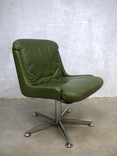 vintage leren draaistoel stoel swivel chair