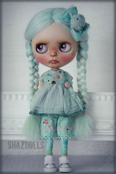OOAK Spring  Summer Minty Outfit for Blythe Doll par Shazdolls