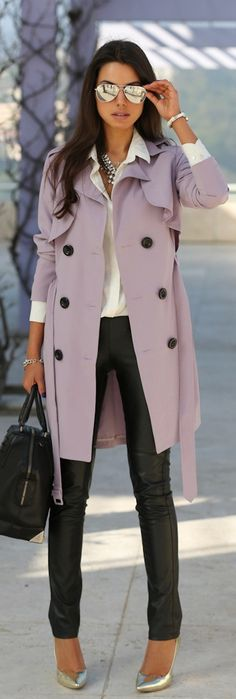 Lavender soft trench, leather leggings, silver shoes, mirrored aviators.