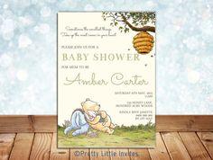 Classic Winnie the Pooh Baby Shower 1 invitation custom diy