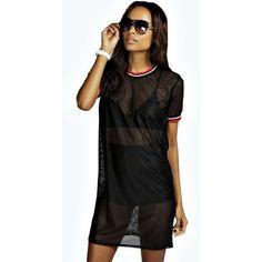 Boohoo Tanya Baseball Style T-Shirt Dress ($16) ❤ liked on Polyvore