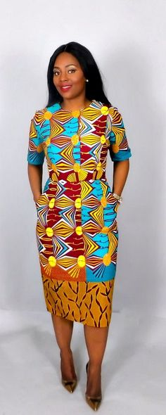 NEW IN mixed print African fitted dress,handmade. Yellow and turquoise mix classic fitted dress .Very flattering slim fit Ankara African print dress for that elegant look. Made from 100% authentic vlisco wax print.    Kitenge | Dashiki | African print dress | African fashion | African women dresses | African prints | Nigerian style | Ghanaian fashion | Senegal fashion | Kenya fashion | Nigerian fashion | cute summer dress (affiliate)