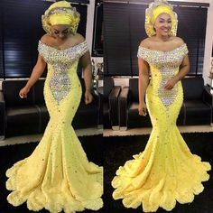 Aso Ebi Yellow Crystal Prom Dresses Gonna Long Mermaid Evening Gowns African Formal Party Dress Plus Size Lace Up Vestido Longo African Attire, African Fashion Dresses, African Dress, Mermaid Evening Dresses, Evening Gowns, Evening Party, Mermaid Gown, Sexy Dresses, Beautiful Dresses