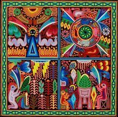 Huichol yarn painting, Enrique Barrajas de la Cruz
