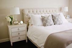 neutral master bedroom white and cream master bedroom gray and white bedroom mercury glass cream tufted headboard