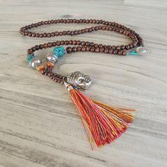 Lange Halskette, bunt, Tassel Bohemian, Mala-Stil Halskette, Buddha Schmuck, handgemacht, dunkelbraun