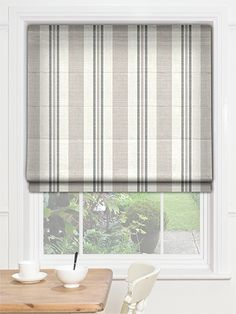 Truro Stripe Sandstone Roman Blind from Blinds 2go