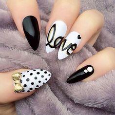 Unique Polka dots, love and bow nail art Nail Design, Nail Art, Nail Salon, Irvine, Newport Beach