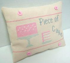 Piece Of Cake Cross Stitched Mini Pillow