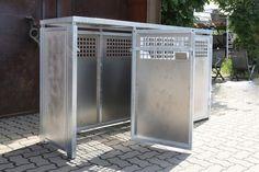 Müllbox aus feuerverzinktem Stahl mit Alumium Füllungen Garage Tool Storage, Garage Tools, Garbage Recycling, Aluminium, Home Appliances, Kitchen, Perforated Metal, Fire, Closet Storage