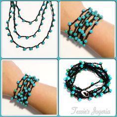 """Pulsera / collar con cuentas de vidrio tono turquesa  Las encuentras también en Facebook en: """"Tessie's Joyeria"""""""