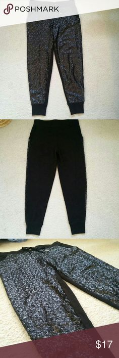 Pretty Little Liars Sparkly Joggers Stunning sparkly joggers by Pretty Little Liars. The front has little black sequences while the back is plain. It has pockets and has only been worn once! Pretty Little liars Pants Track Pants & Joggers