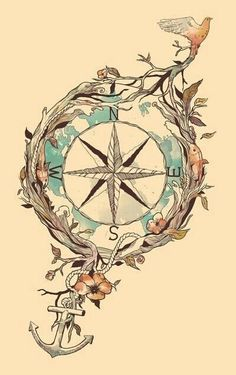 compass and anchor but not nautical looking! instead of bird, incorporate stars -sarah