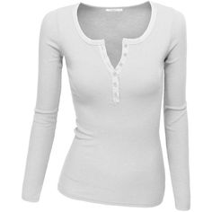 Doublju Women's Crew Henley Neck Long Sleeve T-Shirt Cute Summer Outfits, Cute Casual Outfits, Outfits For Teens, Stylish Outfits, Fashion Outfits, Twilight Outfits, Accesorios Casual, 2000s Fashion, Clothing Items