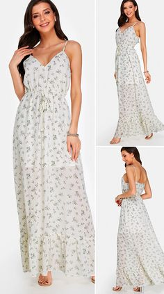 White V Neck Floral Print Fashion Long Dress HOT SALES 2020, beautiful dresses, pretty dresses, holiday fashion, dresses outfits, dress, cute dresses, clothes, classy & elegant, elegant style, mode trends 2020, trending, fashion, fashion looks, moda, women, beautiful, beauty, buy, sale, shop, shopping, vestidos elegantes, vestidos fofos, vestidos bonitos