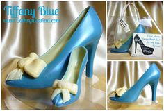 Chocolate Stiletto Shoes available from Cathryn Cariad Chocolates - www.CathrynCariad.com - inspired by the blue of a Tiffany jewellery box