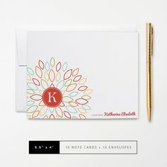 Flat or Folded Note Cards // Set of 10 // Colorful Blooming Blossom Outline with Red Circle Monogram // Personalized Stationery by k8inked