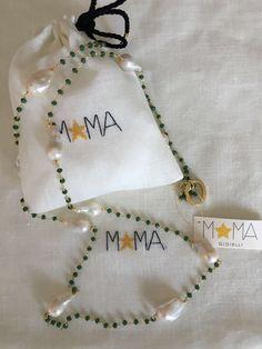 Collana in argento, smeraldo e perle barocche...