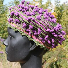Deep Lilac & Olive Green Crochet Hat with a by FunkyMagicalHats