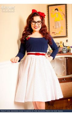 Pinup Couture - Allison Dress in White Pin Dots with Navy | Pinup Girl Clothing