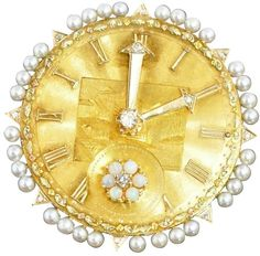 Opulent Art Nouveau Diamond, Opal, Pearl and 14K Yellow Gold Clock with Moving Hands Brooch/Pin/Pendant.