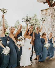 30 + Steel Blue and Dusty Blue Bridesmaid Dresses Dusty Blue Brautjungfernkleider Steel Blue Bridesmaid Dresses, Grey Bridesmaids, Bridesmaid Dress Colors, Wedding Bridesmaid Dresses, Wedding Attire, Being A Bridesmaid, Navy Tux Wedding, Different Bridesmaid Dresses, Country Wedding Gowns