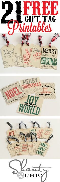 21 FREE Holiday Gift Tag Printables - Perfect to attach to Christmas Gifts and Holiday Baked Goods Treat Plates for neighbors, teachers and friends! | Shanty2Chic