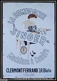 Vieille pancarte publicitaire de machines à coudre SINGER ... - MoipourVous - Entrez sans frapper en Auvergne