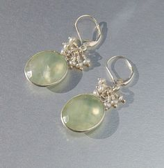 Pale Green Gemstone Earrings with Pearls . Bezeled by MalibuJewel, $85.00