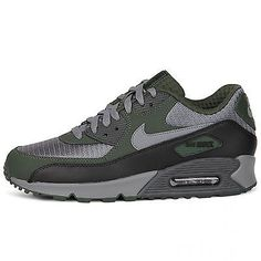 Nike Air Max 90 Essential Mens 537384-048 Carbon Green Grey Running Shoes S 10.5