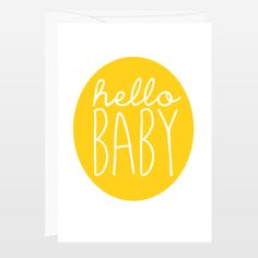 Hello Baby - Yellow Typography Flat Card by FinnyandZook on ...