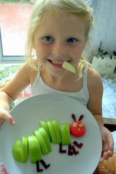 The Very Hungry Caterpillar apple and cheese snack. Cool food art project for kids. And a healthy snack too!