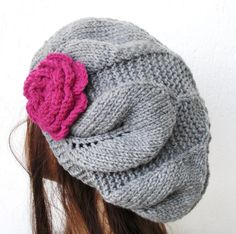 Hand Knit Hat  Slouchy  beret in  silver Gray