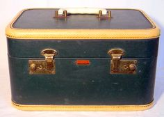 Vintage Antosek Train Makeup Case Blue Green 1940s