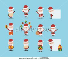 Santa Claus collection cartoon character for christmas. Vector Illustration