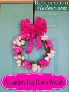 Valentine's Day Flower Wreath  http://www.restorationredoux.com/?p=7655