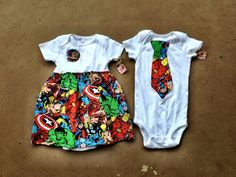 Superhero Sibling Set Marvel Comics by Madebyjoli on Etsy, $36.99
