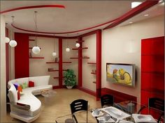 Living room red A cool atmosphere