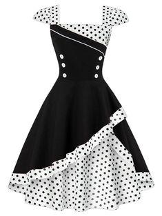 Buttoned Polka Dot Vintage Corset Dress - WHITE XL