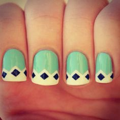 mint, black + white nail art.