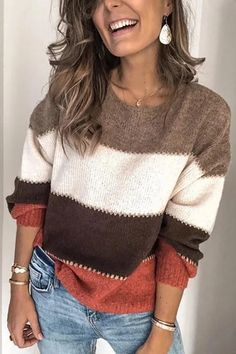 Autumn and Winter Women Fashion Color Block O-Neck Knitted Sweaters Striped Long Sleeve Casual Warm Knitted Female Pullover Sweater Cardigan Long, Loose Sweater, Long Sleeve Sweater, Green Sweater, Batwing Sleeve, Casual Sweaters, Sweaters For Women, Women's Sweaters, Striped Sweaters