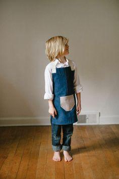 Image of small denim apron A Well Traveled Woman, Sweet Child O' Mine, Gardening Apron, Cute Aprons, Kids Apron, Kids Zone, Kid Styles, Three Kids, Little Man