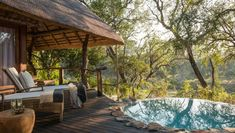sabie sand dulini lodge suite private deck and heated pool Kruger National Park Safari, River Lodge, Luxury Holidays, Africa Travel, Day Tours, Lodges, Sands, Patio, Outdoor Decor