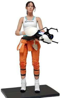 Chell Figure from Portal 2. It is made by NECA and is approximately 18 cm (7.1 in) high http://film-tv.minimodelfilmstuff.co.uk/film-tv-collectable/portal-2-chell-figure-neca-n45325 The most wanted and requested Valve figure is finally a reality. The protagonist Chell comes highly detailed in her orange Aperture Laboratories Jumpsuit. Chell is fully poseable with over 20 points of articulation and a display base. Articulation includes ball jointed neck, shoulders, torso and w...