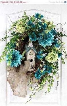 Door Wreath, Spring Wreath, Summer Wreath, Honeysuckle, Birdhouse, Dahlias,  Great for Country Decor