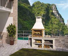 Segarra Barbacoa Argentina, Barbecue, Spanish Garden, Brick Interior, Stainless Steel Grill, White Marble, Granite, Gazebo, Concrete