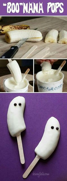 White chocolate bananas. Could use yogurt as healthier alternative though.