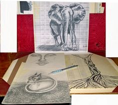 Dessins sur papier comptable et papiers recyclés Les Oeuvres, David, Paper Drawing, Ink, Drawings, Artist