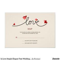 In Love Simple Elegant Text Wedding RSVP
