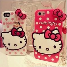 3D Lovely Hello Kitty Soft rubber Cute Phone Case For iPhone 6 6s plus Funny Cartoon Case Cover For iPhone 7 plus 5 5S SE girl